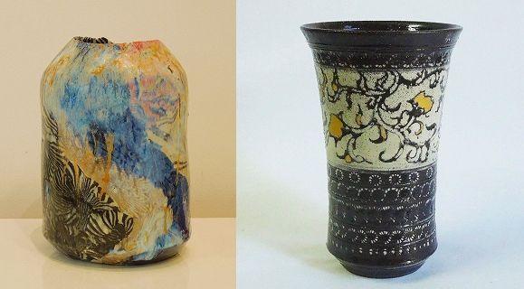 (左)「練り込み花入れ」山内瑠璃子 (右)「印花文金彩ビアカップ」山内まどか